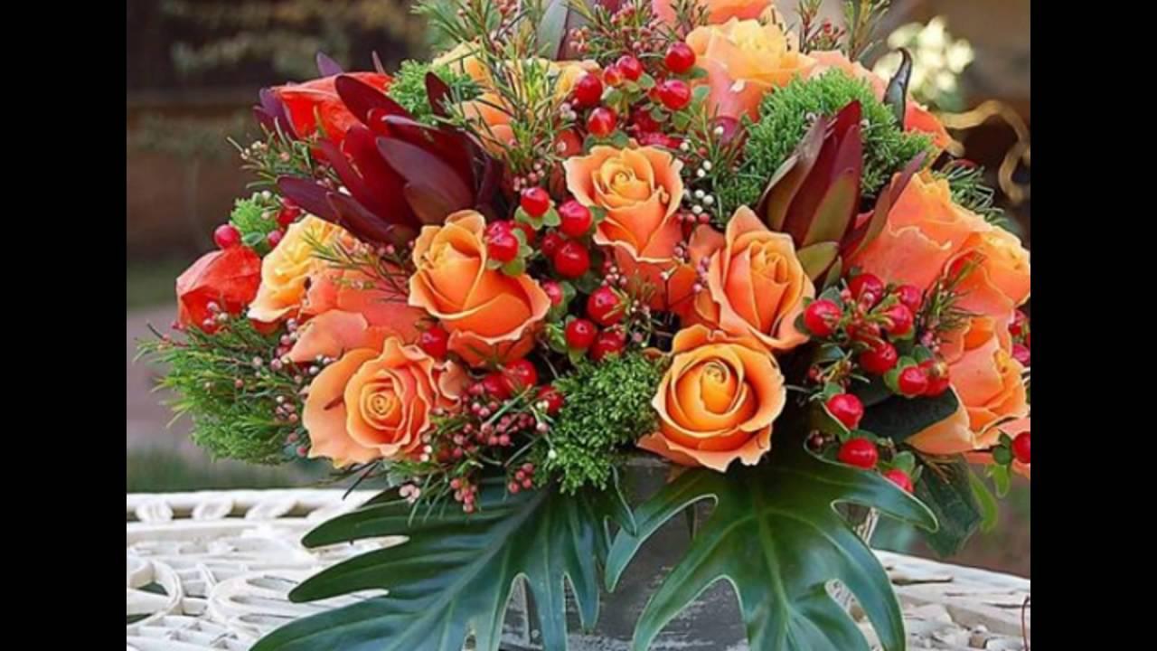 Autumn Fl Arrangements With Orange Roses