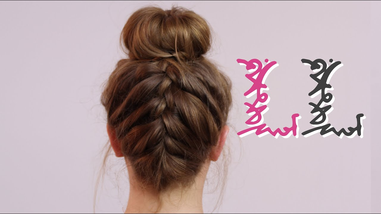 How to back french plait with bun youtube ccuart Images
