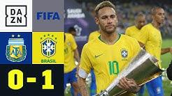 Lionel Messi fehlt - Neymar triumphiert: Argentinien - Brasilien 0:1 | Testspiel | DAZN Highlights