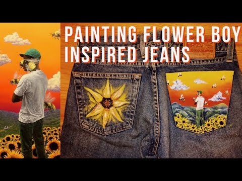 painting flower boy (tyler, the creator) inspired jeans