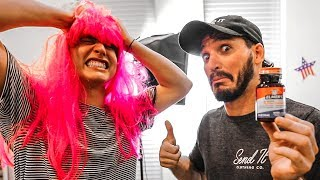 SUPERGLUED PINK WIG TO HEAD PRANK! (Will NOT come off!)