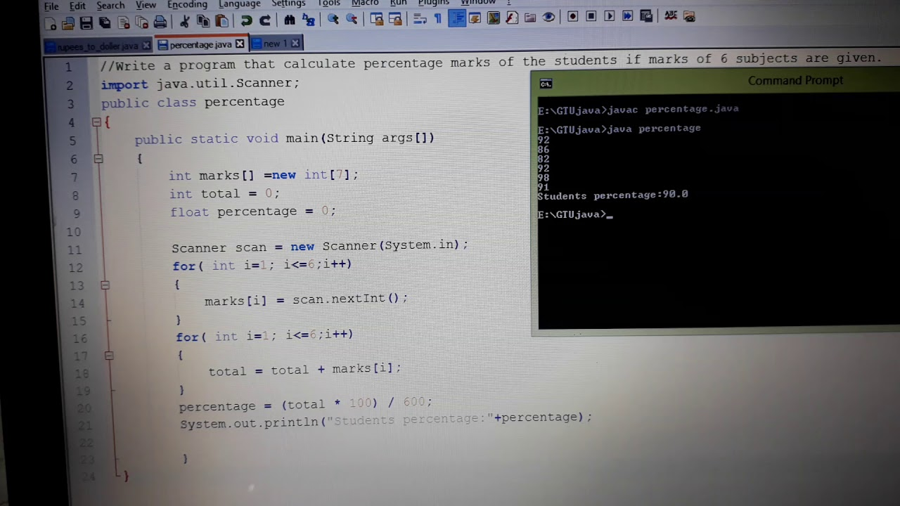 Write a program that calculate percentage marks of the