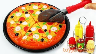 Play Doh Pizza Velcro Cutting Toys with Microwave Oven Baby Playset Learn Colors Kids Nursery Rhymes