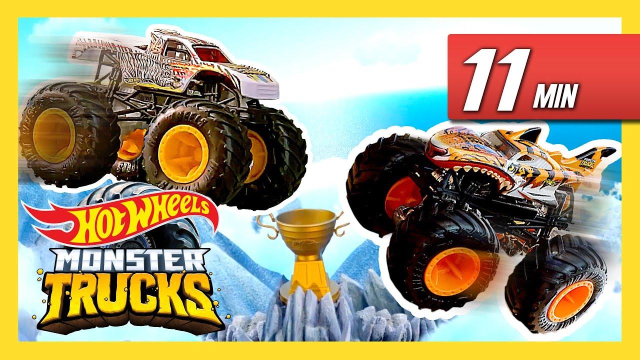 Monster Trucks Mega Mountain Adventure Monster Trucks Island Hot Wheels Youtube