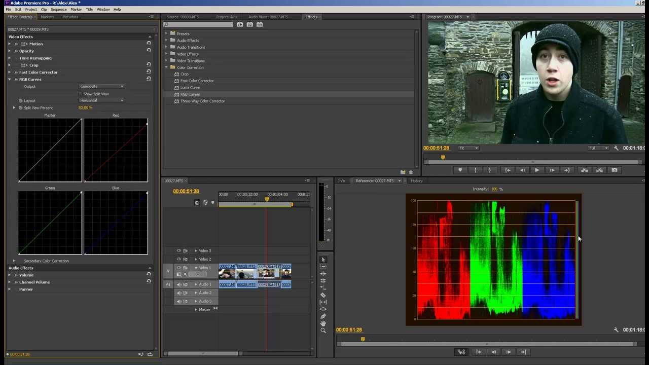 How To Use Color Correction Adobe Premiere Pro CS6 Video Editing RGB Curves  Luma Curve 2013