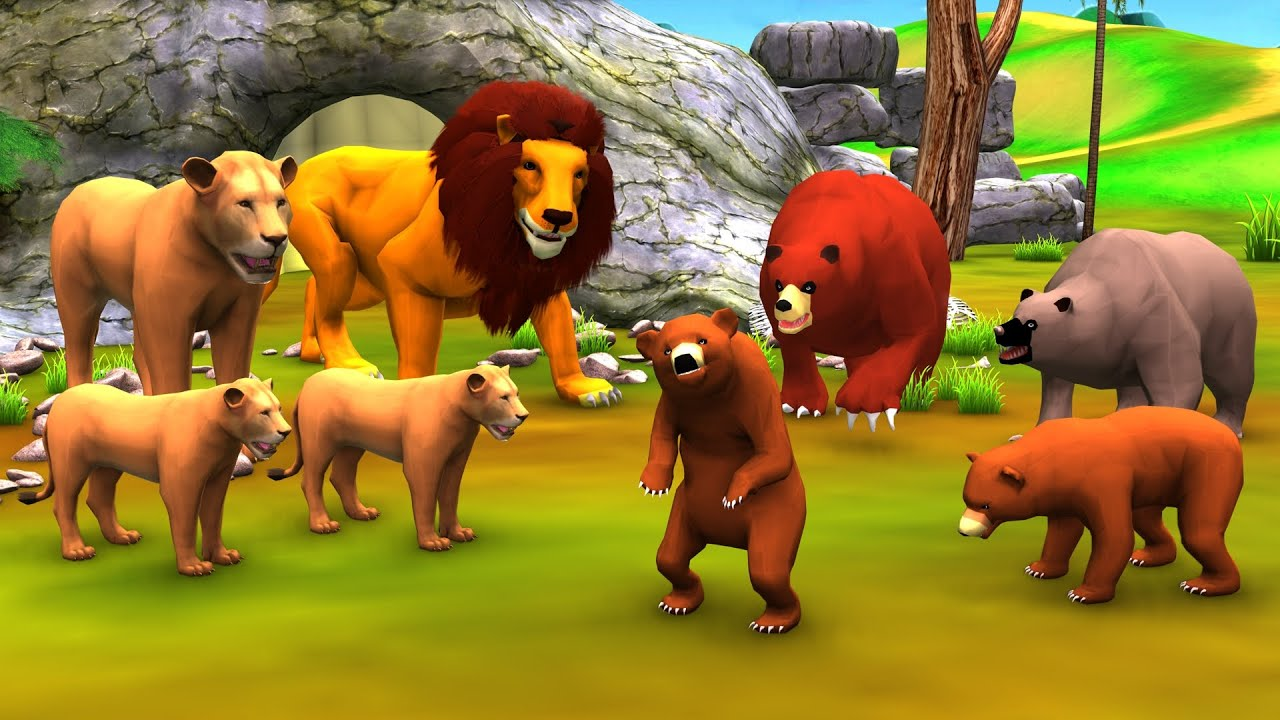 भालू ने शेर को बचाया Bear Rescues Lion Moral Kahani - Hindi Kahaniya Stories - 3D Hindi Fairy Tales