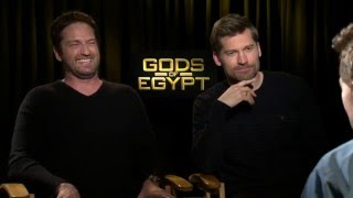 "Gods Of Egypt: Gerard Butler ""Set"" & Nikolaj Coster-Waldau ""Horus"" Exclusive Interview"