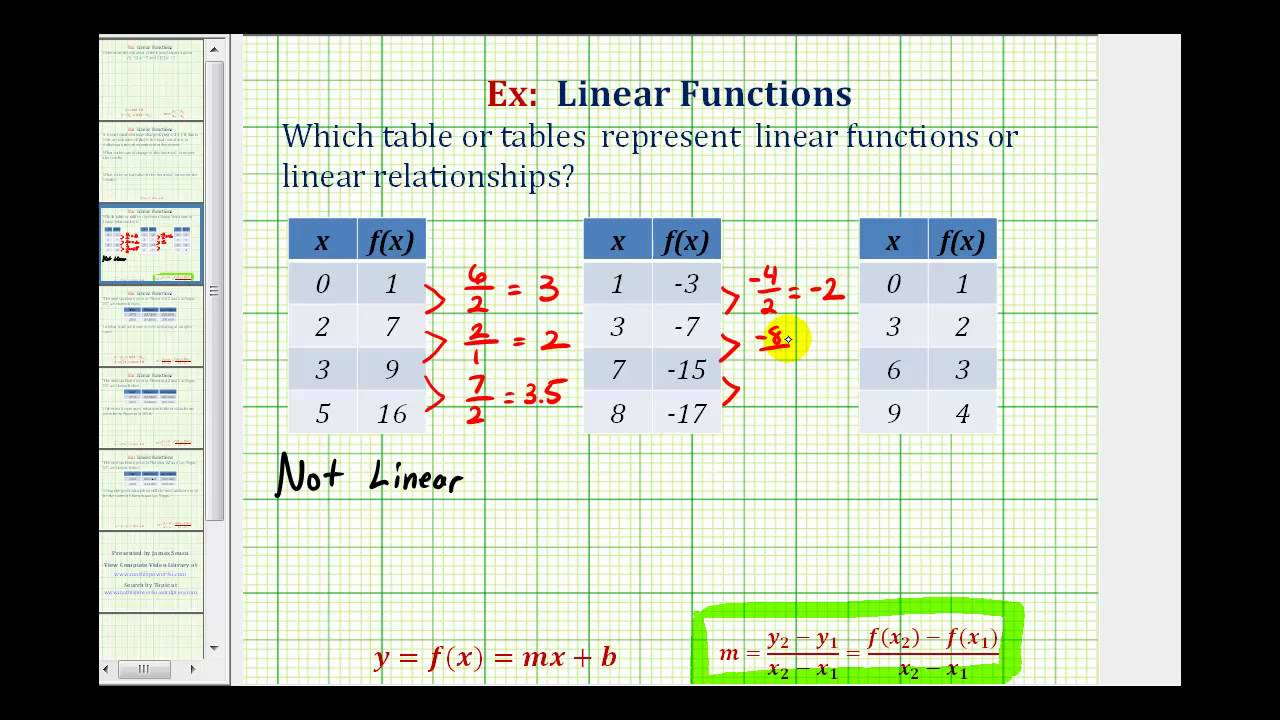 Ex Determine Which Tables Represent A Linear Function Or Linear