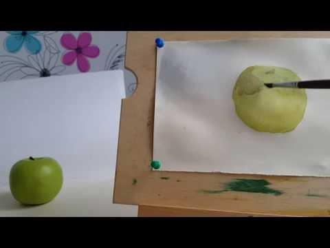 Акварель для начинающих. Как нарисовать яблоко. Лессировки.