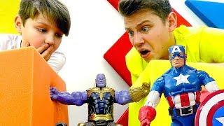 Игры с супергероем Капитан Америка. Строим крепость для Таноса!