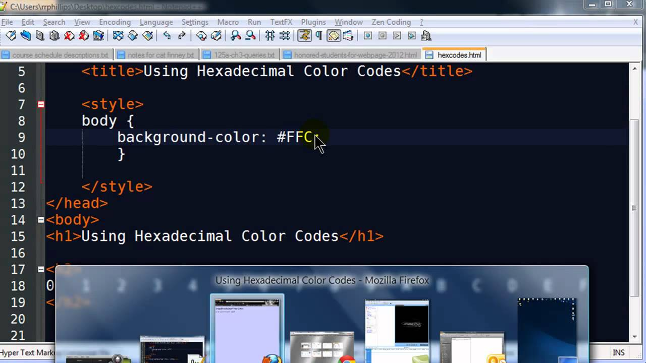 Hexadecimal Color Codes For Web Design Youtube
