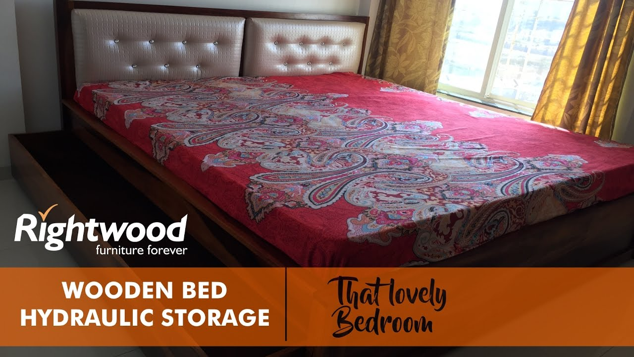 Wooden Bed Design With Storage And Upholstered Headboard By Rightwood  Furniture