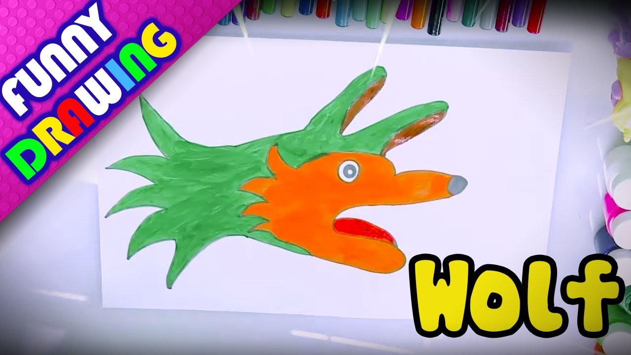 DIY - How to draw Crocodile, Wolf easy with hand - Dạy bé vẽ và tô màu con vật