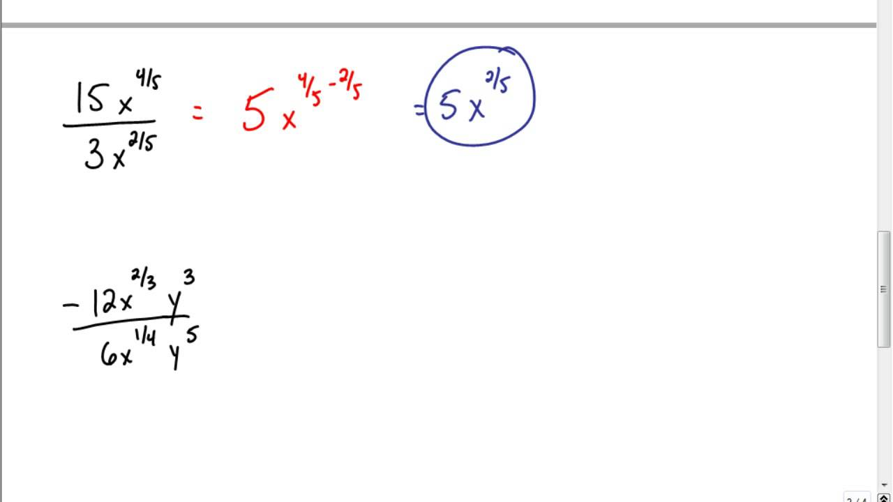 math worksheet : skill 20 prt 2 v2 dividing expressions w rational exponents  youtube : Exponent Divided By Exponent