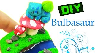 HOW TO MAKE POKEMON MINIATURE BULBASAUR polymer clay & resina tutorial