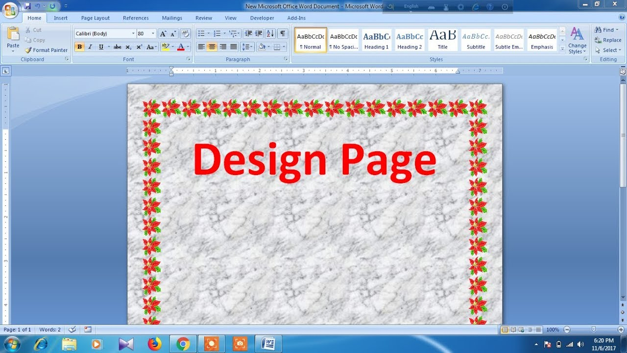 how to design page in microsoft word youtube