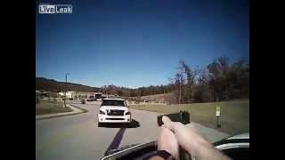 Woman rams police car at high speed!