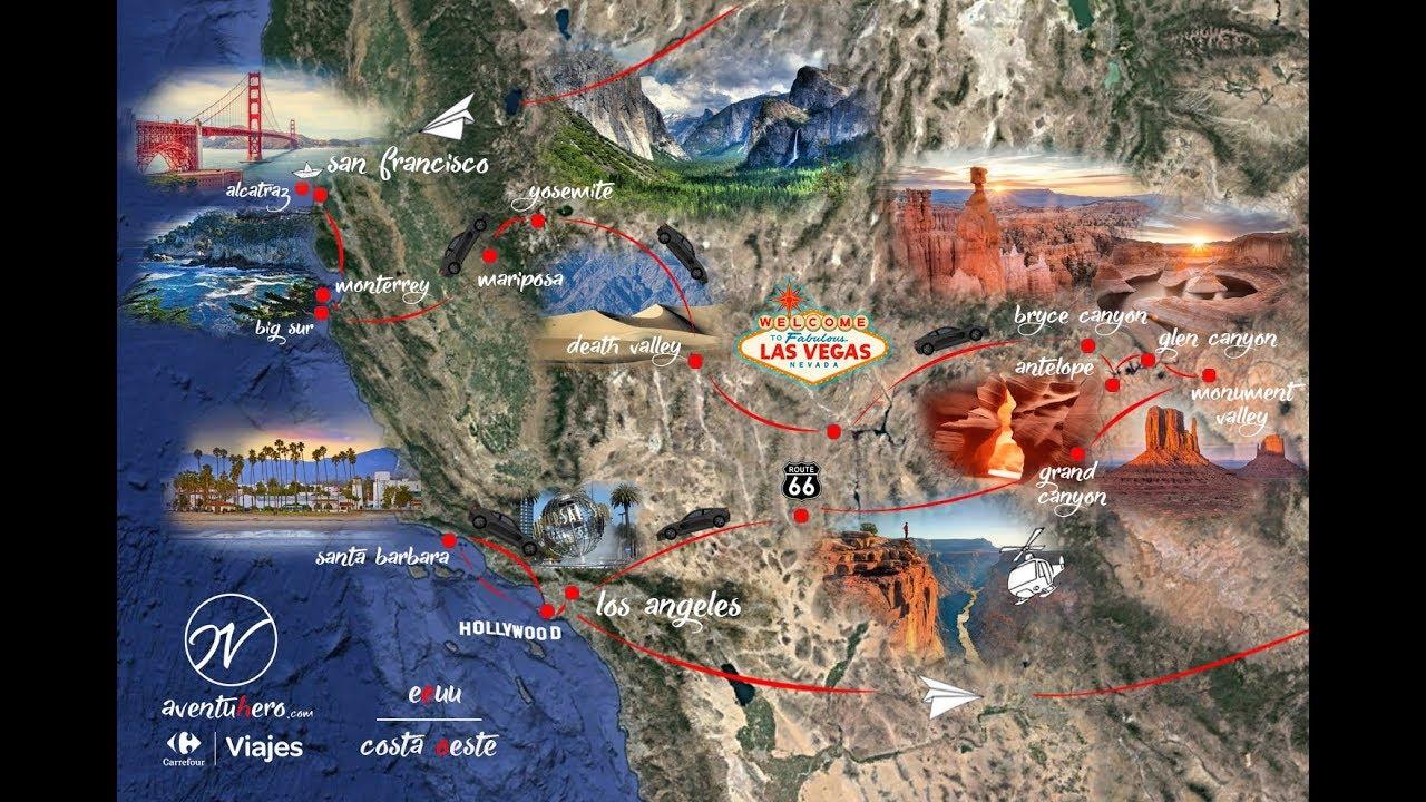 Mapa Eeuu Costa Oeste.Road Trip Por La Costa Oeste De Eeuu El Blog De