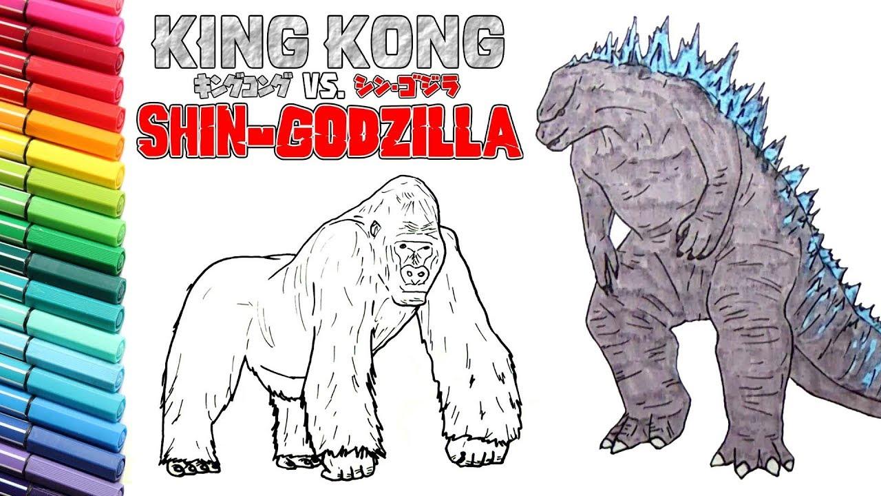 godzilla vs king kong drawing and coloring for kids