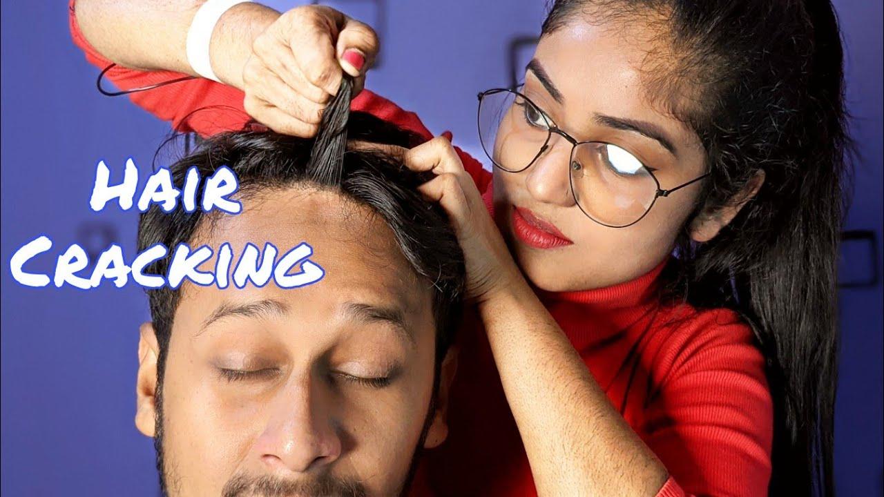 Hair Cracking Again On Me   Neck Cracking   Head Massage   Female To Male Head Massage   ASMR