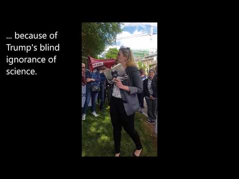 Cara Augustenborg speaking at demonstration on Trump's withdrawal from Paris Agreement