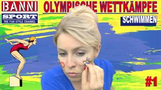 SCHWIMMEN Swimming Natación #1 - Olympic Wettkampf - Original Banni Sport Fan Style & Make-up