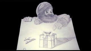 How To Draw 3D Santa Claus | Santa Claus Easy Draw Tutorial | Merry Christmas 2018