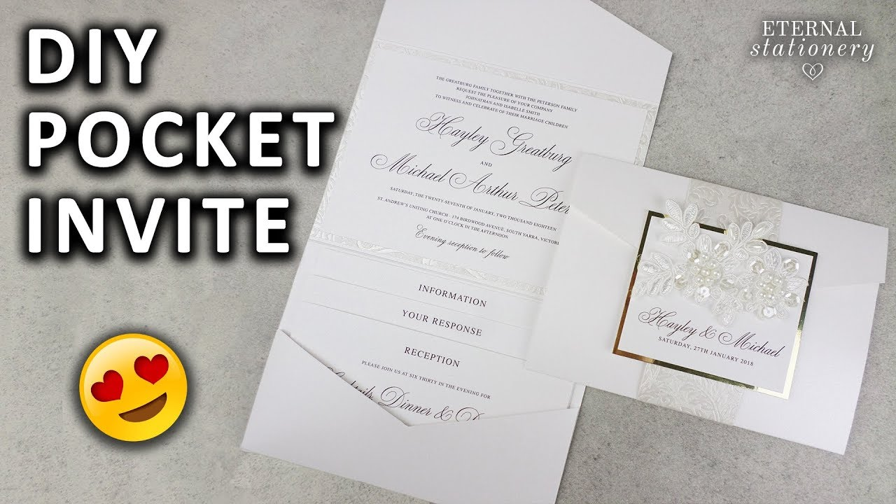 diy pocketfold invitation with printable pocket template With diy pocket wedding invitations youtube