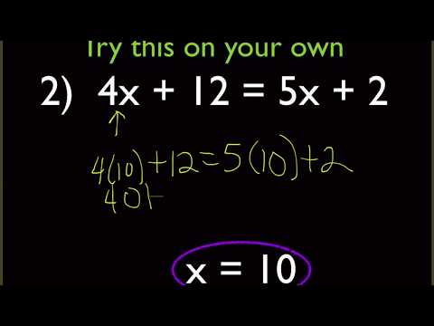 Algebra - Solving Equations with Variables on Both Sides