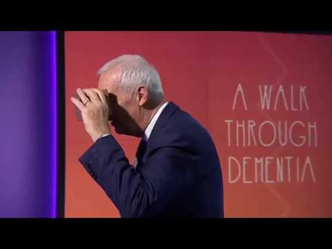 Jon Snow viewing A Walk Through Dementia – virtual reality app from Alzheimer's Research UK & Visyon