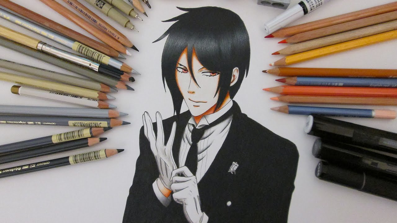 Speed Drawing Sebastian Michaelis  Black Butler - Kuroshitsuji - YouTube