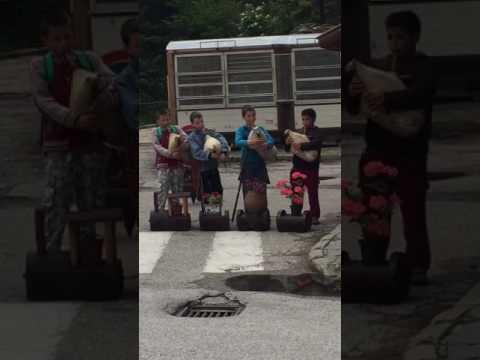 2017 BULGARIAN TOUR:  Children in Pomporovo Village playing Gaida