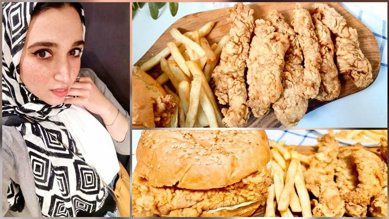 تشيكن زنجر دجاج كنتاكي احلى صدور دجاج كرسبي مقرمشة من غير رايب و لا حليب !!