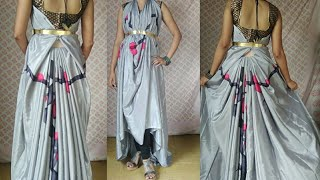 Turn your saree to dress no cutting and no stitching | saree draping new style | How to wear saree