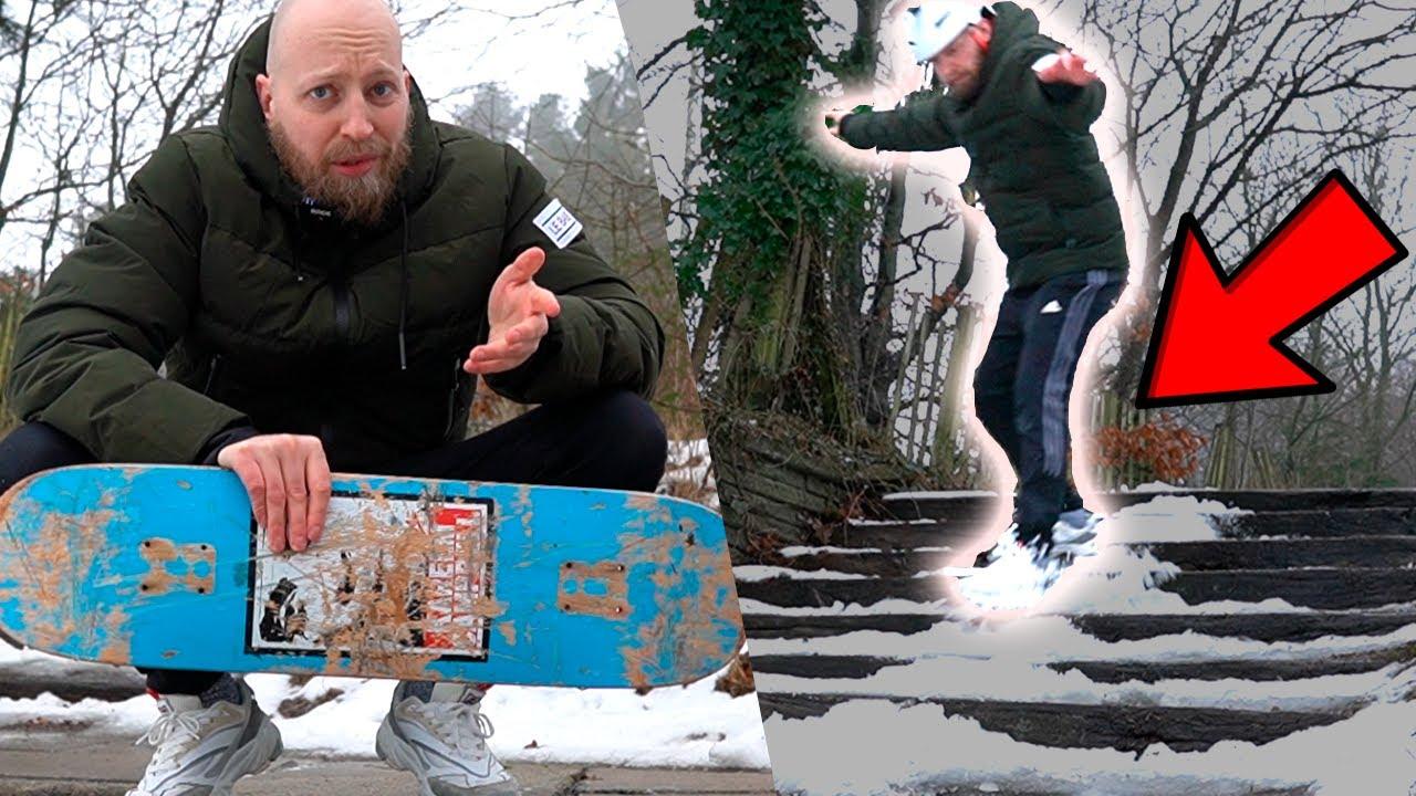 Tager Kæmpe Trappe På Skateboard UDEN HJUL