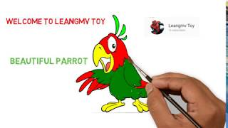 Drawing beautiful parrot, how to draw a parrot, coloring pages for kids