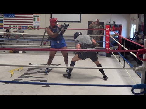 Trevor Bryan vs Derric Rossy sparring session at The Heavyweight Factory (Part 1) DyMiller Mariette