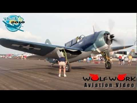 SB2C Helldiver Start Up & Taxing in SUN'n FAN 2010