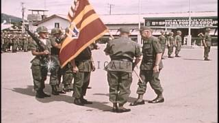 Change of command IFFV (First Field Force Vietnam)-ARTY (Artillery Men) in Nha Tr...HD Stock Footage