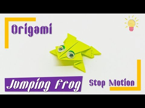 Origami Jumping Frog (Stop Motion)  How to make a paper Frog