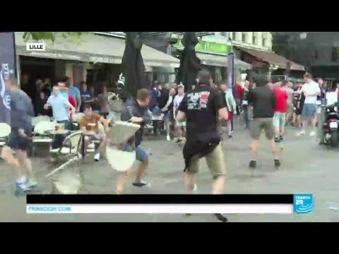 EURO 2016 - Jets de chaises, de bouteilles, les hooligans anglais et russes se font à nouveau face