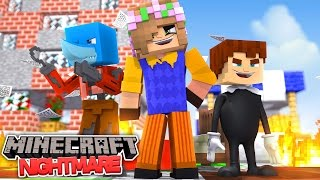 FNAF FOXY HELLO NEIGHBOUR AND BENDY NIGHTMARE BATTLE - Minecraft Bed Wars Little Kelly vs Sharky