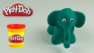Play-doh stop motion animals dinosaur, elephant, worm animations