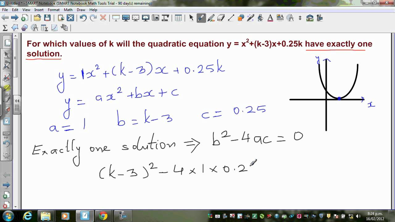 finding the value of k if the quadratic equation y x 2 k 3 x has exactly one root youtube. Black Bedroom Furniture Sets. Home Design Ideas