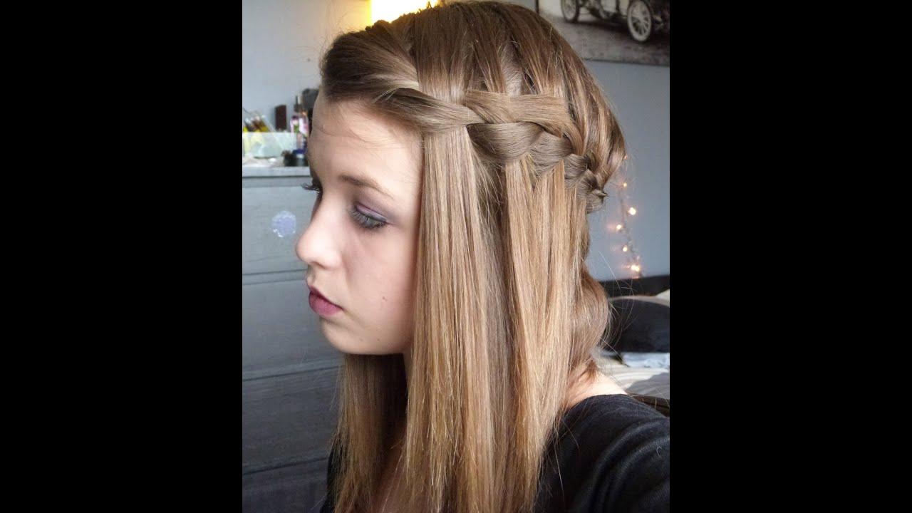 coiffure n 13 coiffure d 39 t 4 waterfall braid ou tresse cascade youtube. Black Bedroom Furniture Sets. Home Design Ideas