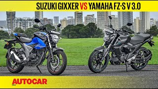 2019 Suzuki Gixxer vs Yamaha FZ-S v3.0 | Comparison Test Review | Autocar India