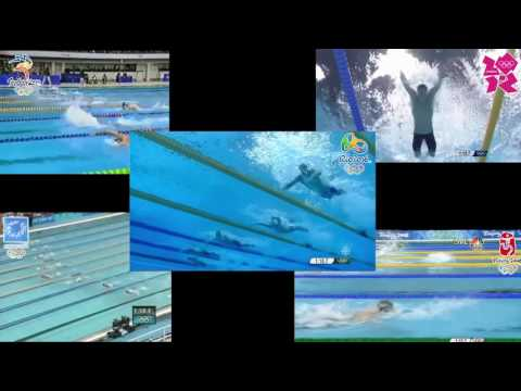 Michael Phelps Olympic 200m Fly Finals Comparison - 2000, 2004, 2008, 2012, 2016