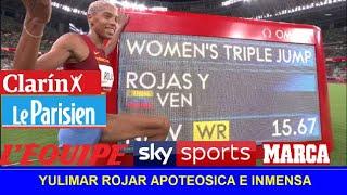 YULIMAR ROJAS Reaccion Prensa Mundial medalla de oro tokio 2021