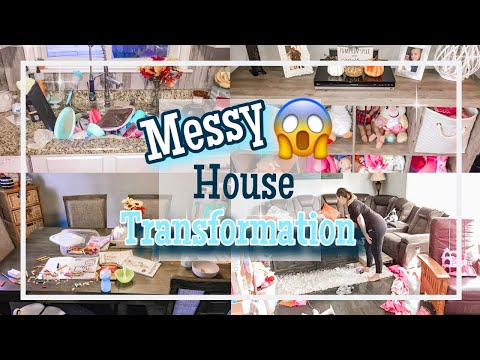 MESSY HOUSE TRANSFORMATION || COMPLETE DISASTER CLEAN WITH ME 2019 || ALL DAY CLEANING MOTIVATION