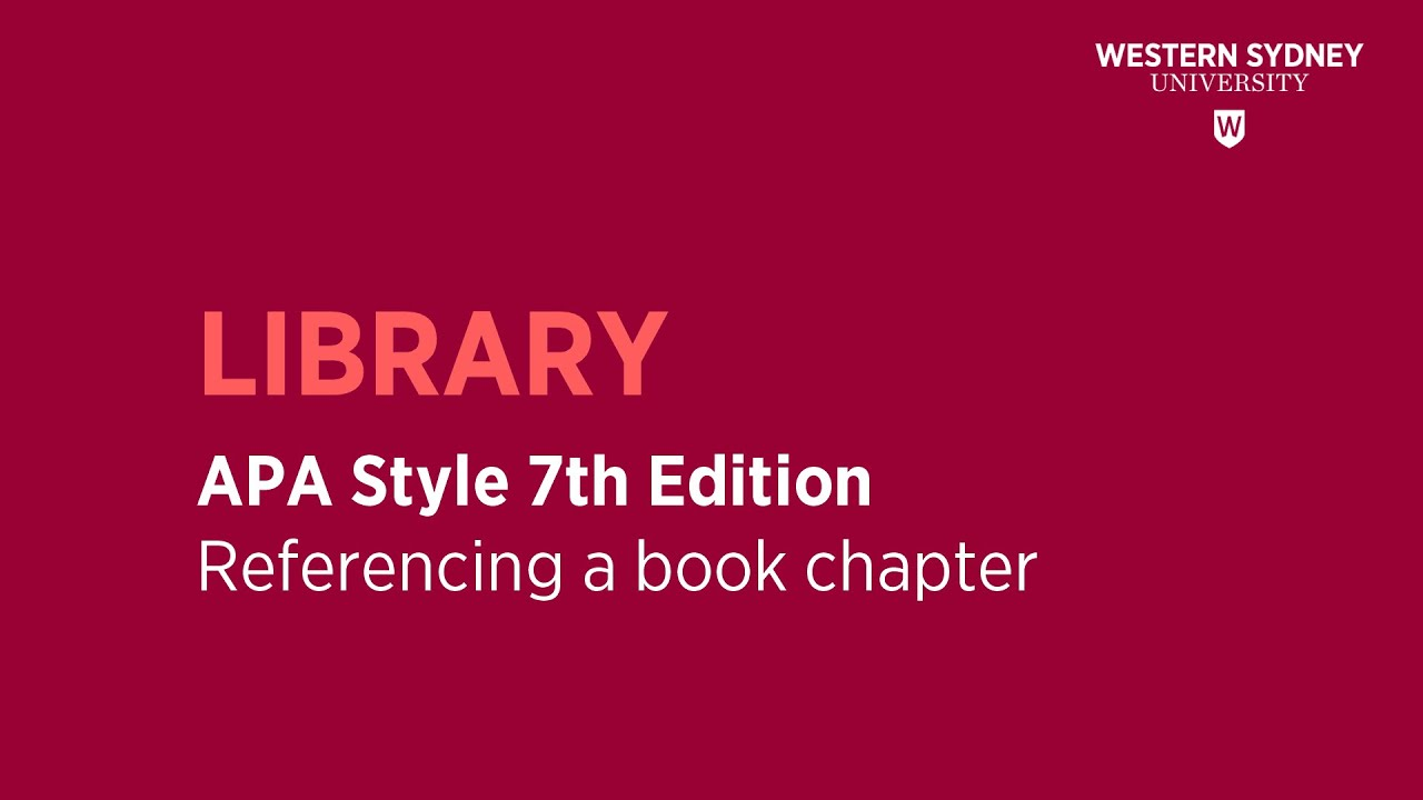 Apa Style 7th Edition In Text Citation Youtube How To Cite Chapter Book